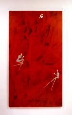 2002 oil, PVC and silver leaf on canvas, cm 110 x 200